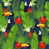 Seamless tropical leaves and flowers - palm, monstera, hibiscus and plumeria, strelitzia reginae and tropical birds. Royalty Free Stock Photos