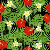 Seamless tropical leaves and flowers Stock Photography
