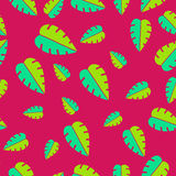 Seamless tropical leaves pattern Royalty Free Stock Photography