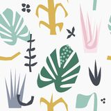 Seamless tropical leaves pattern. Modern stylized jungle leaf background. Vector royalty free illustration