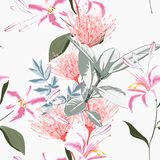 Seamless tropical lilies, protea and other exotic flower pattern background. stock illustration