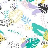 Seamless tropical memphis pattern. Vintage background vector illustration