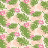 Seamless tropical palm leaves Stock Photo