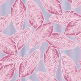 Seamless tropical pattern with banana leaves on striped background Royalty Free Stock Images
