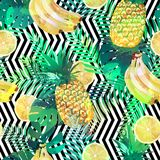 Seamless tropical pattern with bananas, lemons palm leaves and pineapples. Summer exotic endless texture, wallpaper. Seamless tropical pattern with palm leaves Royalty Free Stock Images