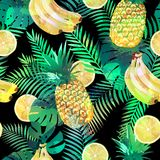 Seamless tropical pattern with bananas, lemons palm leaves and pineapples. Summer exotic endless texture, wallpaper Royalty Free Stock Photos