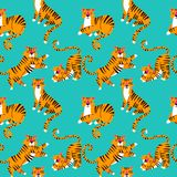 Seamless tropical pattern with cartoon tigers. Trendy style. EPS stock illustration