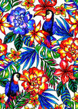 Seamless tropical pattern with exotic leaves, toucan, and jungle flowers. Drawn with pens and markers Royalty Free Stock Image