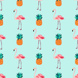 Seamless tropical pattern with flamingos, pineapples. Seamless pattern with pineapples and flamingos Royalty Free Stock Images