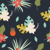 Seamless tropical pattern with flowers, herbs, leaves and pineapple Floral design with plants as texture, fabric, clothes. Vector. Illustration on dark royalty free illustration