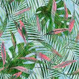 Seamless tropical pattern with green, pink palm leaves on a  blue background. Seamless tropical pattern with green, pink palm leaves on a light blue background Royalty Free Stock Images