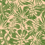 Seamless tropical pattern of hand-drawn palm and monstera deliciosa leaves.  Stock Photo