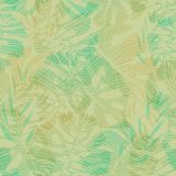 Seamless tropical pattern of hand-drawn palm and monstera deliciosa leaves.  Royalty Free Stock Photography