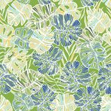 Seamless tropical pattern of hand-drawn palm and monstera deliciosa leaves.  Royalty Free Stock Image