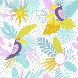 Summer time illustration. Seamless tropical pattern with jungle leaves and palm fronds Stock Photo