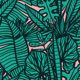 Seamless  tropical pattern with leaves. Royalty Free Stock Images