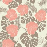 Seamless tropical pattern with monstera leaves and flowers on vanilla background stock illustration
