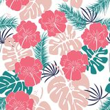 Seamless tropical pattern with monstera leaves and flowers on white background. Vector illustration Royalty Free Stock Photo