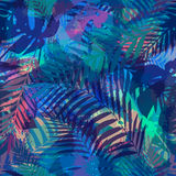 Seamless tropical pattern with palm leaves. Stock Images