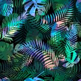 Seamless tropical pattern with palm leaves for fabric design or other uses. Endless exotic background. Royalty Free Stock Photography