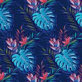 Seamless tropical pattern. With palms, monstera leaves, hibiskus, other tropic flowers and geometry rombs. Vector illustration Stock Photo