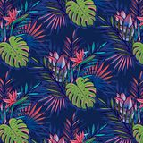 Seamless tropical pattern with palms, monstera leaves. vector illustration