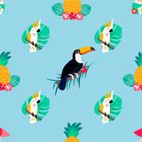 Seamless tropical pattern with parrots, pineapples and toucan. Seamless tropical pattern with parrots, pineapple and toucan Stock Images