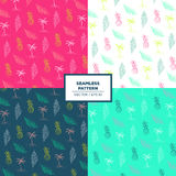 Seamless tropical pattern. Pineapple, palm, leaf exotic fresh backround Stock Photos