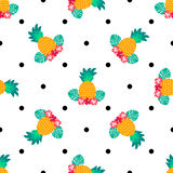 Seamless tropical pattern with pineapples. Can be used for textile, covering, fabric, wrapping. Seamless tropical pattern with pineapples. Can be used for Stock Photos