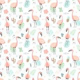 Seamless tropical pattern with pink flamingos and leaves, cacti, fruit, flowers. Vector summer hand-drawn illustration of a stock illustration