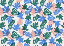 Seamless tropical pattern. Tropical plants and palm leaves in coral, teal and blue colors. Floral background. Fashion. Print for textile, fabric, covers Stock Photo