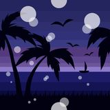Seamless tropical pattern with sea and palm trees stock illustration