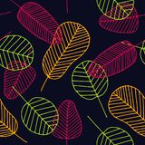 Seamless tropical pattern with skeleton leaves stock images