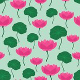 Seamless tropical pattern with stylized lotus Stock Photos