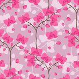 Seamless tropical pattern with stylized orchid Royalty Free Stock Images