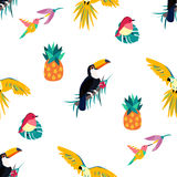 Seamless tropical pattern with toucan, parrot, pineapple and hummingbird vector illustration