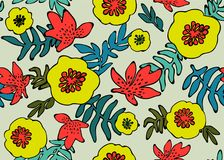 Seamless tropical pattern. Tropical plants and flowers in coral, teal and neon yellow colors. Floral background. Fashion vector illustration