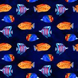 Seamless tropical pattern. Watercolor illustration with hand drawn aquarium exotic fish on white background. Blue set. Seamless tropical pattern. Watercolor vector illustration