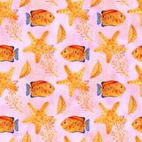 Seamless tropical pattern. Watercolor illustration with hand drawn aquarium exotic fish on white background. Blue set. Seamless tropical pattern. Watercolor royalty free illustration