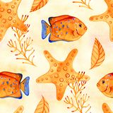 Seamless tropical pattern. Watercolor illustration with hand drawn aquarium exotic fish on white background. Blue set. Seamless tropical pattern. Watercolor stock photo