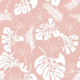 Seamless tropical pattern with white monstera leaves and flowers vector illustration