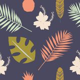 Seamless tropical pattern with wild flowers, herbs and leaves. Floral design with plants as texture, fabric, clothes. Vector illus. Tration on dark background royalty free illustration