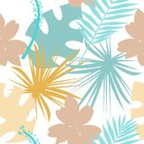 Seamless tropical pattern with wild flowers, herbs and leaves. Pastel texture for floral design with plants. Vector illustration vector illustration