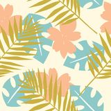 Seamless tropical pattern with wild flowers, herbs and leaves. Pastel texture for floral design with plants. Vector illustration.  royalty free illustration
