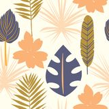 Seamless tropical pattern with wild flowers, herbs and leaves. Texture for floral design with plants as fabric, clothes. Vector il. Lustration royalty free illustration