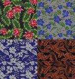 Seamless Tropical Print Set Stock Images