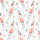 Seamless tropical striped pattern with cute flamingos in the crown, pineapple, watermelon, strawberry, cacti. Vector summer vector illustration