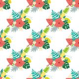 Seamless tropical summer pattern watermelon pineapples tropical leaves Summer fruit bouquet design fabric decor vector. Fashion tropics funny wallpapers stock illustration