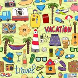 Seamless tropical vacation and travel pattern Stock Images