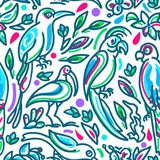 Seamless tropical vector pattern. Birds of paradise in colored jungle royalty free illustration